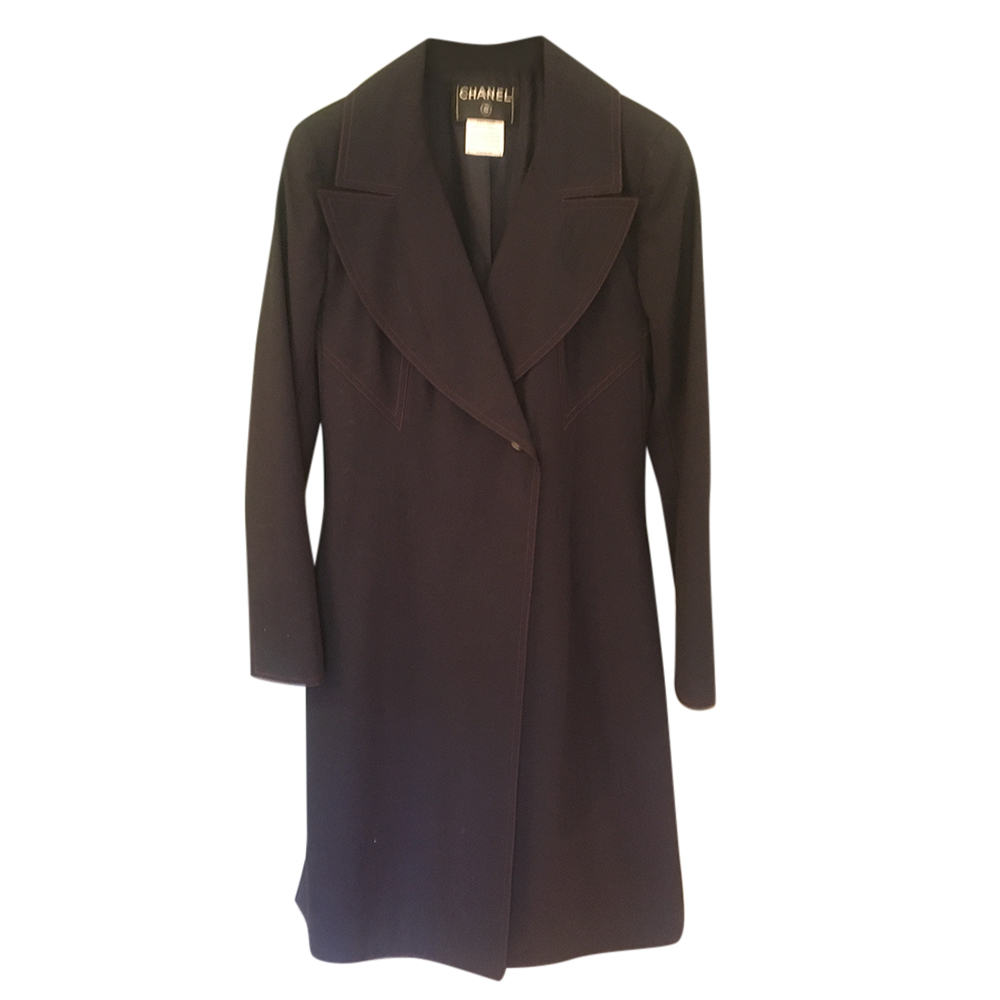 Chanel Navy Contrast Stitch Lightweight Wool Coat