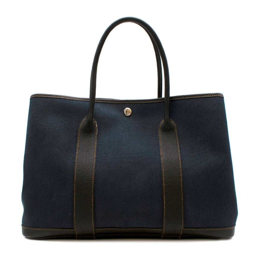 Hermes Blue Canvas and Leather Garden Party Tote Bag