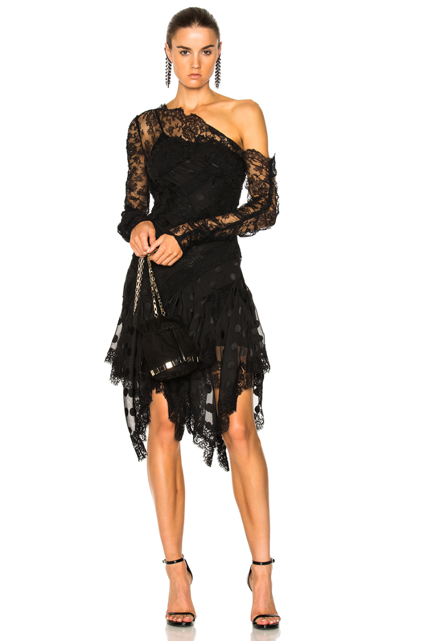 Zimmermann Lace One Shoulder Georgette Black Dress