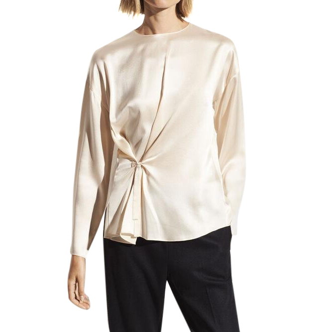 Vince Satin Knotted Ivory Top