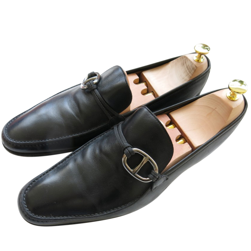 Hermes black leather loafers