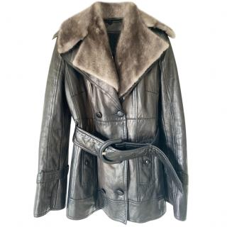 Costume National Dover Street Market Leather Jacket with Fur Collar
