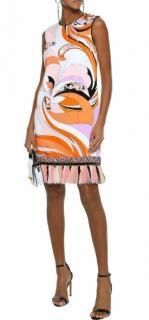 Emilio Pucci Orange Swirl Print Tassel Terry Dress