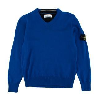 Stone Island Junior Blue Wool V-Neck Logo-Patch Knit Sweater
