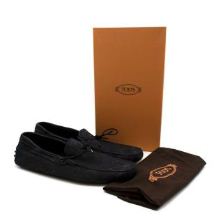 Tods Navy Leather Scooby Doo Tie Driving Loafers