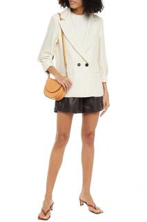 Ba&Sh Ivory Double Breasted Crepe Tyna Tailored Jacket