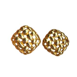 Givenchy Vintage Gold Tone Woven Earrings