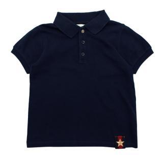 Gucci Kids Navy Cotton Star Patch Polo Shirt