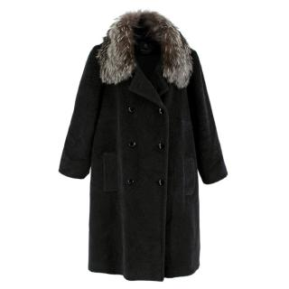 Stewart Parvin Black Wool Blend Coat w/ Fox Fur Collar