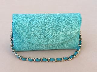 Hidetoshi Turquoise Stingray Chain Clutch