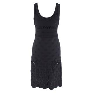 Chanel Black Knit Textured CC Scoop Neck Mini Dress