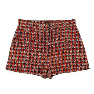 Louis Vuitton Red & Blue Checkered Print Silk Shorts