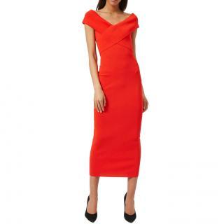 Solace London Off Shoulder Cecile Midi Dress