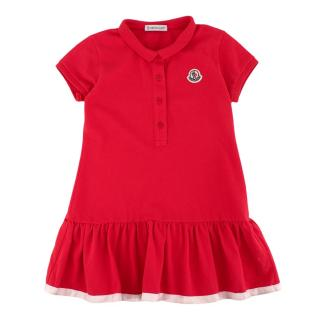 Moncler Kids Coral Cotton Polo Dress