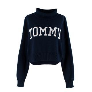 Tommy Jeans Navy Cotton Blend Knit Turtleneck Cropped Sweater