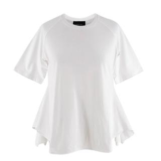 Simone Rocha White Cotton Short Sleeve Ruffle Top