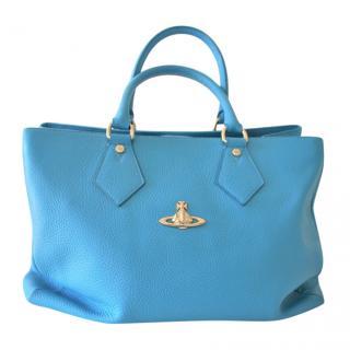 Vivienne Westwood Blue Leather Tote Bag