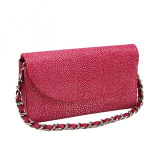 Hidetoshi Pink Stingray Chain Bag