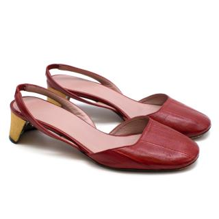 Gucci Red Arielle Embellished Leather Slingback Pumps