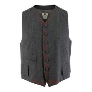 Dries Van Noten Grey Wool Embroidered Vest