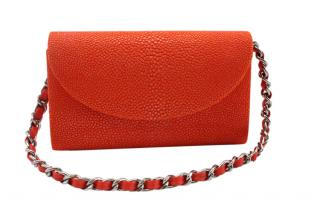 Hidetoshi Orange Stingray Chain Clutch