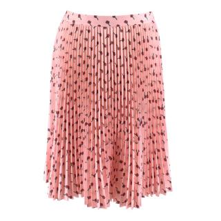Prada Pink Roses Print Pleated Skirt