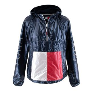 Tommy Jeans Navy & Red Quarter Zip Pullover w/ Hood