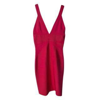 Herve Leger Pink V-Neck Fitted Bandage Dress