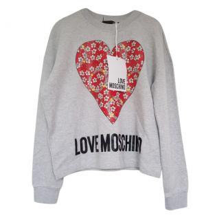 Love Moschino Grey Logo Sweatshirt