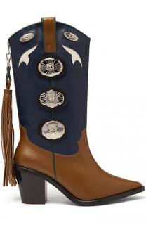 Toga Pulla Brown & Blue Embellished Cowboy Boots