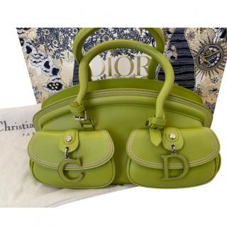 Dior Bright Green Leather Bowling Tote Bag