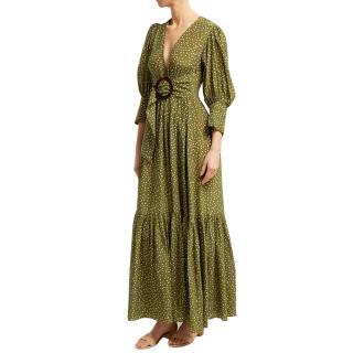 Adriana Degreas Green Polka Dot Silk Mille Punti Maxi Dress