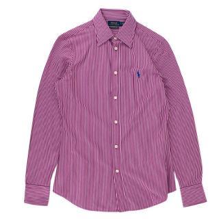 Polo Ralph Lauren Pink Striped Cotton Knit Dress Shirt