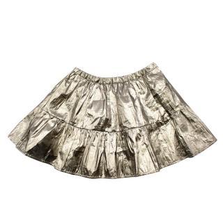 Bonpoint Gold Silk Blend Metallic Skirt