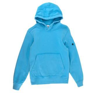 Stone Island Junior Blue Cotton Hoodie