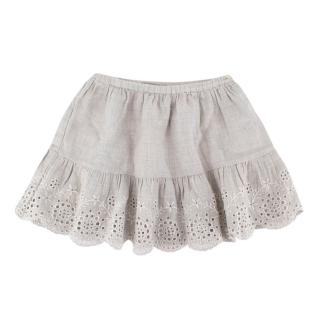 Bonpoint Baby Light Grey Embroidered Cotton Skirt
