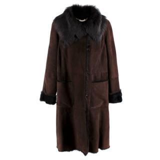 Marina Rinaldi Brown Suede Shearling Coat