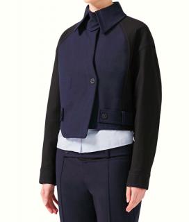 Sportmax Navy/Black Asymmetric Boxy Jacket
