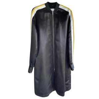 Victoria Victoria Beckham Black Satin Longline Bomber Jacket