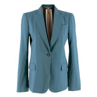 Gucci Teal Wool Blend Single Breasted Blazer