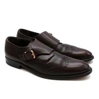 Bally Brown Leather Monk Strap Loafers