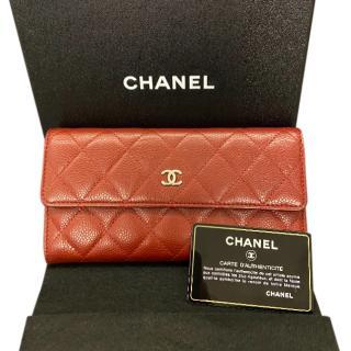 Chanel Red Caviar Calfskin Classic Long Wallet