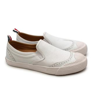 Thom Browne White Leather Slip-on Brogue Trainers