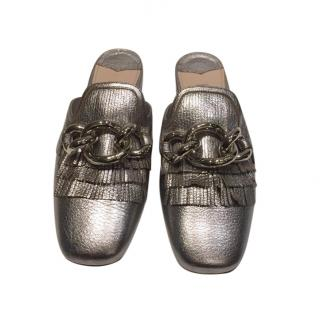 Miu Miu silver leather flat mules