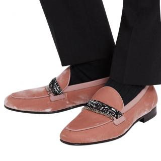 Amiri Pink Velvet Leather Trimmed Loafers
