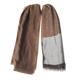Moschino Brown Colourblock Wool & Cashmere Logo Scarf 200cm x 75cm