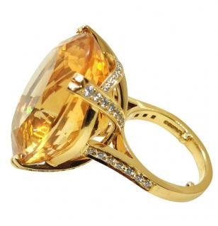 Bespoke 17ct citrine and diamond cocktail ring