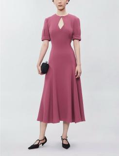Emilia Wickstead Pink Wool Crepe Ludovica Midi Dress