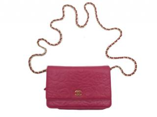 Chanel pink leather camellia print wallet on a chain