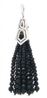William & Son black spinel and diamond tassel pendant
